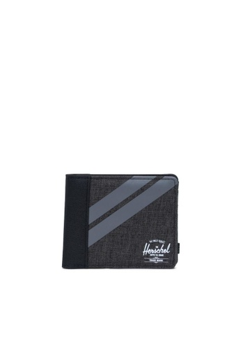 Herschel black and grey Herschel Unisex Roy Wallet Coin Black Crosshatch/Quiet Shade/Periscope 327DDAC011E763GS_1