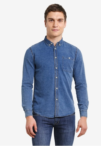 Electro Denim Lab blue Indigo Slim Dobby Shirt EL966AA0SF83MY_1