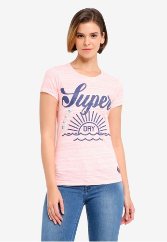 Superdry pink Tri Colour Tropical Tee SU137AA0T219MY_1