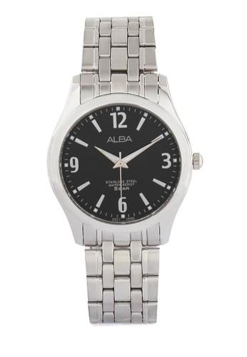 Alba silver ALBA Jam Tangan Pria - Silver Black - Stainless Steel - ARSY23 AL383AC0UN41ID_1