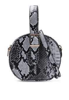 f1d47ac1ec120 Red s Revenge white and multi Faux Snake Skin Round Bag C84C8ACE695C21GS 1