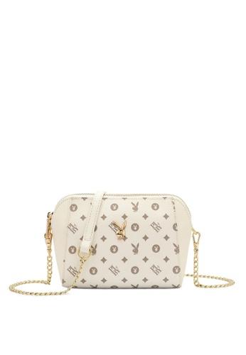 PLAYBOY BUNNY white Compact Faux Leather Sling Bag 0DC60AC3E9B42FGS_1