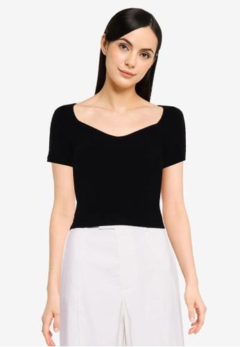 Cotton On black Nightfall Rib Sweetheart Short Sleeve Top DDBB0AAD860E89GS_1