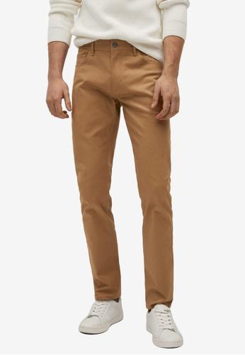 MANGO Man brown Slim Fit Denim-Effect Serge Trousers 2C515AAE52EB89GS_1