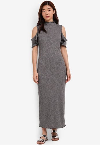 ZALORA grey Cold Shoulder Rib Dress 49833ZZDBCD206GS_1