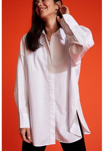 DeFacto white Long Sleeve Cotton Shirt Tunic 7FA4CAA46F1D62GS_1