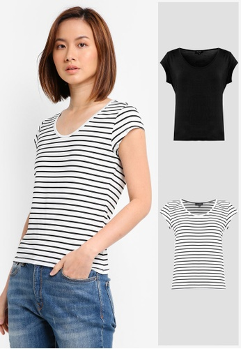 ZALORA BASICS black and white 2 Pack Essential Scoop Neck Tee ZA274AA0JFN9SG_1