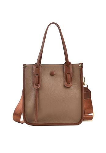 Lara brown Women's Leather Tote Bag Cross-body Bag - Khaki 13135AC395EF8FGS_1