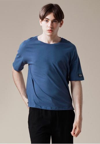Life8 blue Cotton Elbow Length Crew Neck Tee-03868-Blue LI286SH0RN60MY_1
