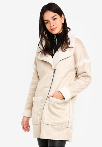 ONLY beige Felicity Bonded Sherpa Coat 041EAAA73BE53FGS_1