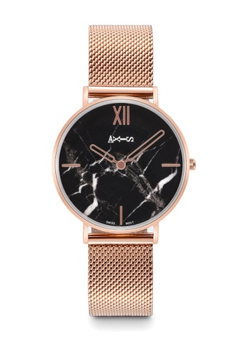 Axis black and white and pink AXIS Watch - Mesh Band Watch With Extra Genuine Leather Band 1D9FEAC491FF95GS_1