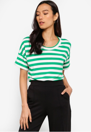 ICHI green Grass Stripe T-Shirt 5DD6BAA64F6EC5GS_1