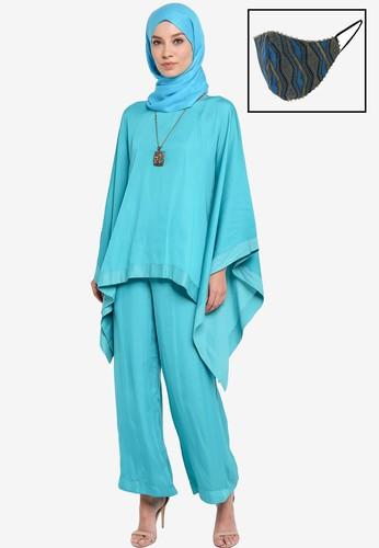 Yans Creation blue Adra Kaftan Palazzo Set With Free Selendang And Reusable Mask 4E91EAAF08390CGS_1