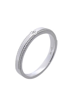 Simple and Slim Silver Ring with Artificial Diamond for Women lr0007f