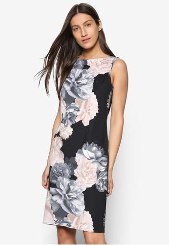 Petite 玫瑰無袖直筒連身裙、 服飾、 服飾WallisPetite玫瑰無袖直筒連身裙最新折價