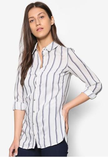 直條紋esprit香港分店長版長袖襯衫, 服飾, 服飾