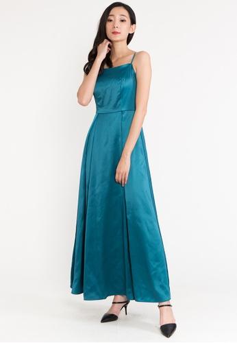 BEBEBEIGE green BebeBeige Sleeveless Silk Sqaure Neckline Maxi Evening Long Dinner Dress 760DEAA3D86CD7GS_1