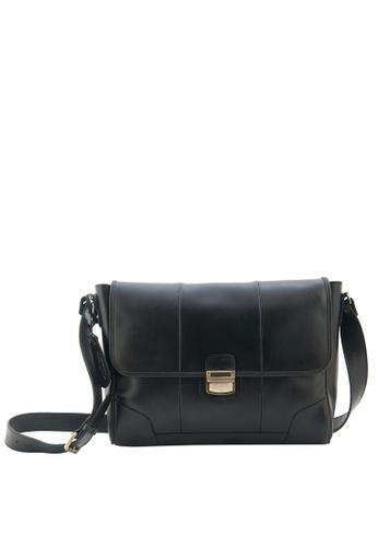 The Tannery Manila black Stan, Genuine Leather Saddle Black Messenger Bag TH690AC25ZJAPH_1