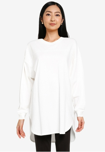 JEANASIS white Curved Hem Pullover 91583AA4E75BA2GS_1