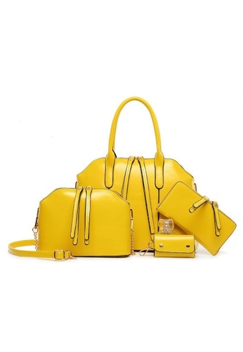 Jackbox yellow Set of 4 Artificial Leather Purse Sling Bag Handbag Tote Bag 904 JA762AC43HYUMY_1