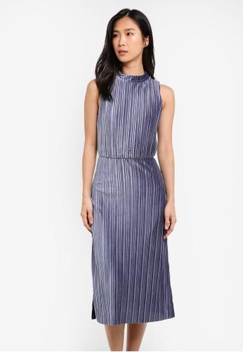 Buy Warehouse Velvet Plisse Midi Dress Zalora Hk
