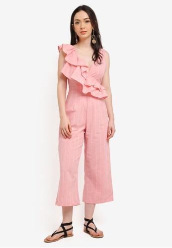 LOST INK pink Frill Shoulder Jumpsuit BA2D2AA609E1FCGS_1