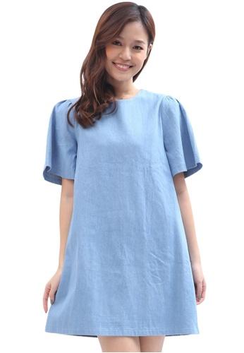 a6e0d9c1d1c COVETZ Wedding blue Flutter Sleeve Denim Dress CO611AA0SIHAMY 1