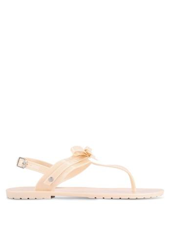 Velvet beige Bow Gel Sandals 61646SH96D18DFGS_1