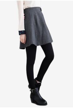 Tabbed Detail Flare Skirt