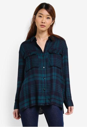 Something Borrowed green Checkered Oversized Shirt AAA27AAB719038GS_1