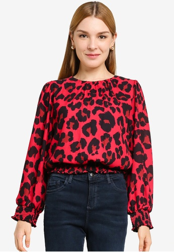 Dorothy Perkins red Red Animal Printed Shirred Hem Top 98347AAEAEC4BBGS_1