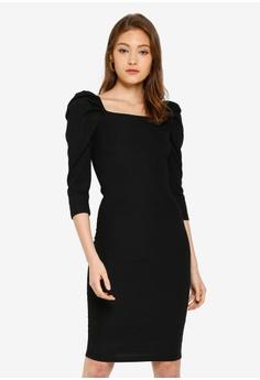 a77bf14e River Island black Long Sleeve Poppy Puff Sleve Dress 1B743AAEE7822AGS_1