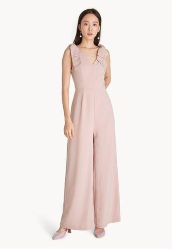 Buy Pomelo Bow Shoulder Sleeveless Jumpsuit - Pink Online | ZALORA ...