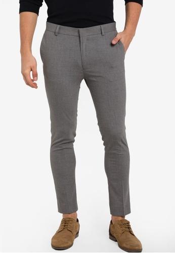 Topman grey Light Grey Marl Ultra Skinny Trousers TO413AA87BUUMY_1