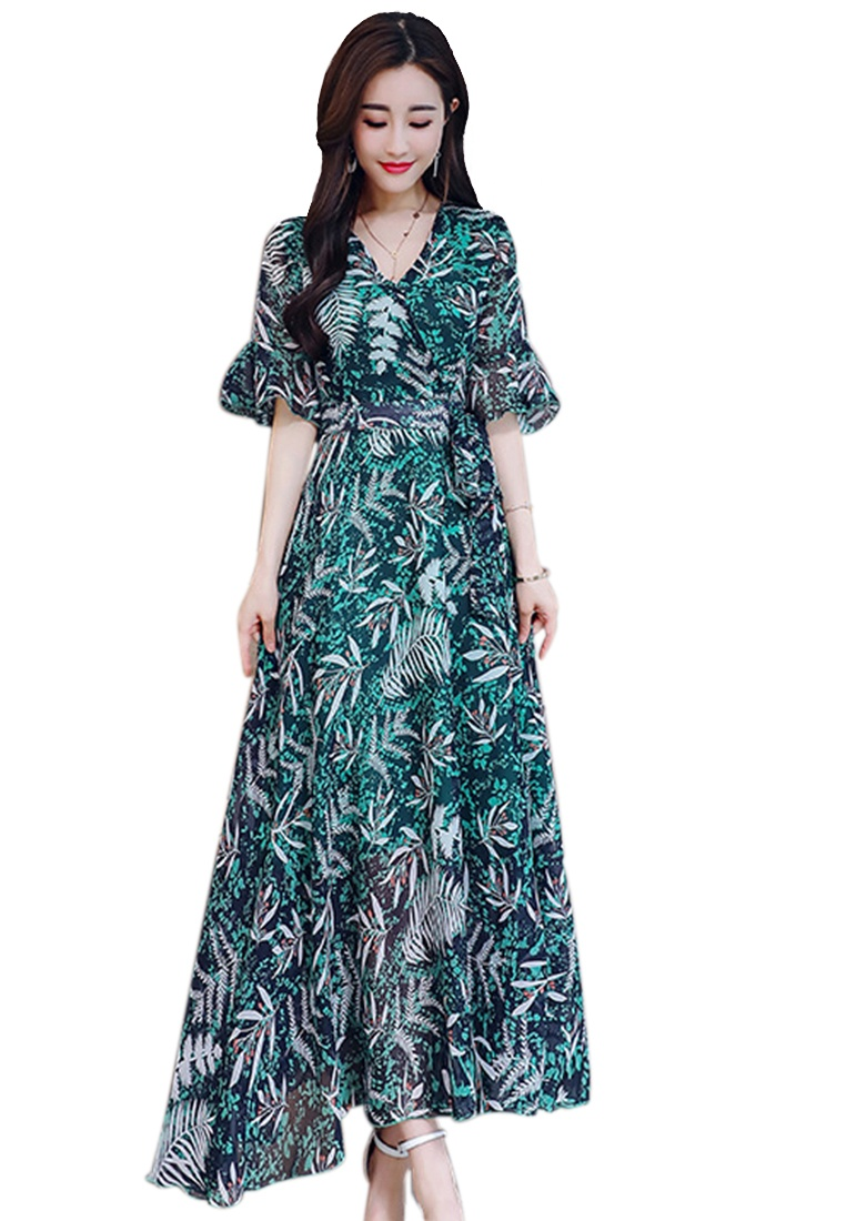 Dress New 2018 Pattern V Neck Leaf Sunnydaysweety Multi piece multi A060406 One 688Zwq7x