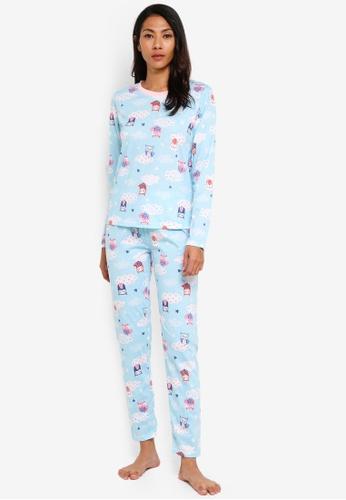 UniqTee blue Owl Print Pajama Set 37BE0AAF3CE1DBGS_1