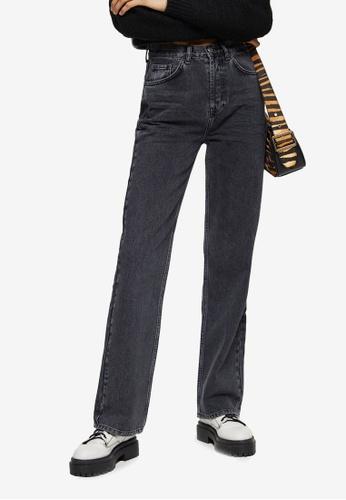 TOPSHOP black Washed Black 90's Straight Jeans 29B13AA61E88E7GS_1