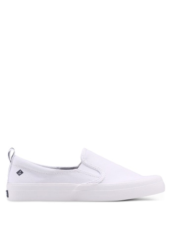 Sperry white A8 Crest Twin Gore Slip Ons 8C2EASHE71B2FCGS_1