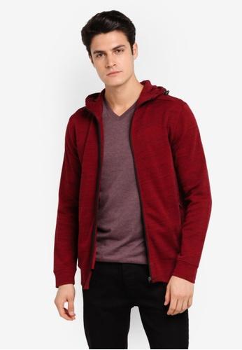 Burton Menswear London 紅色 連帽休閒運動外套 BU964AA0T1I2MY_1