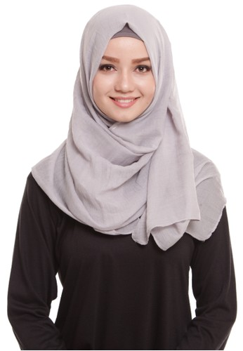 Mybamus Pashmina Texture Plain Anti Licin Light Gray