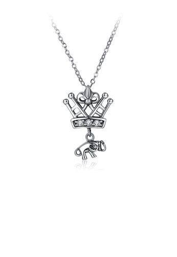 Glamorousky white 925 Sterling Silver Crown Pendant with Austrian Element Crystal and Necklace 85182AC5567A42GS_1