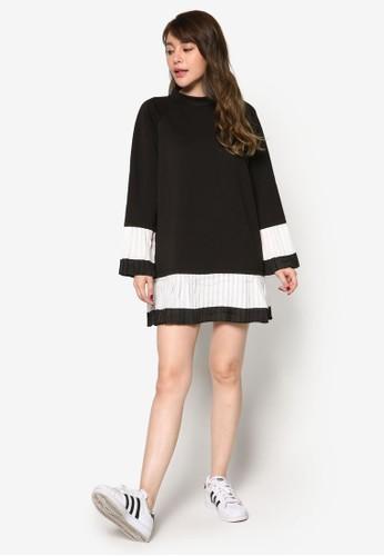 褶飾下esprit分店擺撞色太空棉連身裙, 服飾, 洋裝