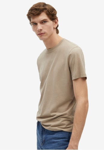 MANGO Man grey Sustainable Cotton T-Shirt 14490AA2723BF4GS_1