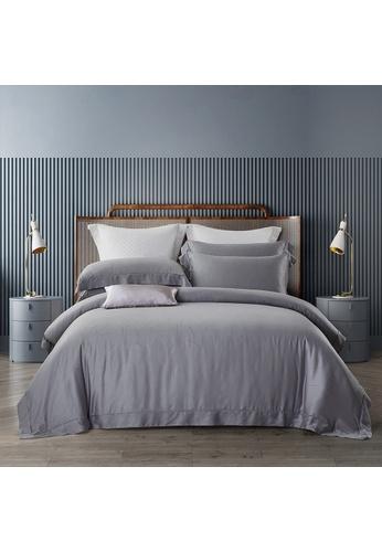 Epitex blue Cressent Dale 1600TC CJ2801 Valenfil Collection Filagen Collagen Fibre Jacquard Bedset (Grey Blue) F6137HL77A944DGS_1