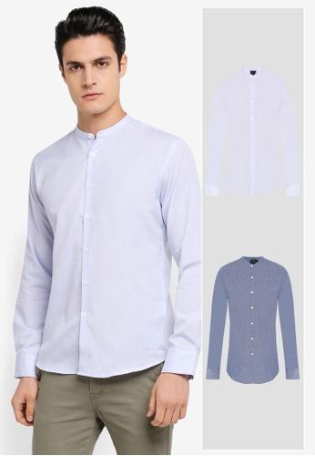 ZALORA blue 2 Pack Slim Fit Mandarin Collar Chambray & Stripe Long Sleeve Shirt ZA819AA0T296MY_1