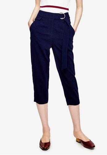 Hopeshow navy Belted Capri Pants 94644AA54DF5E0GS_1