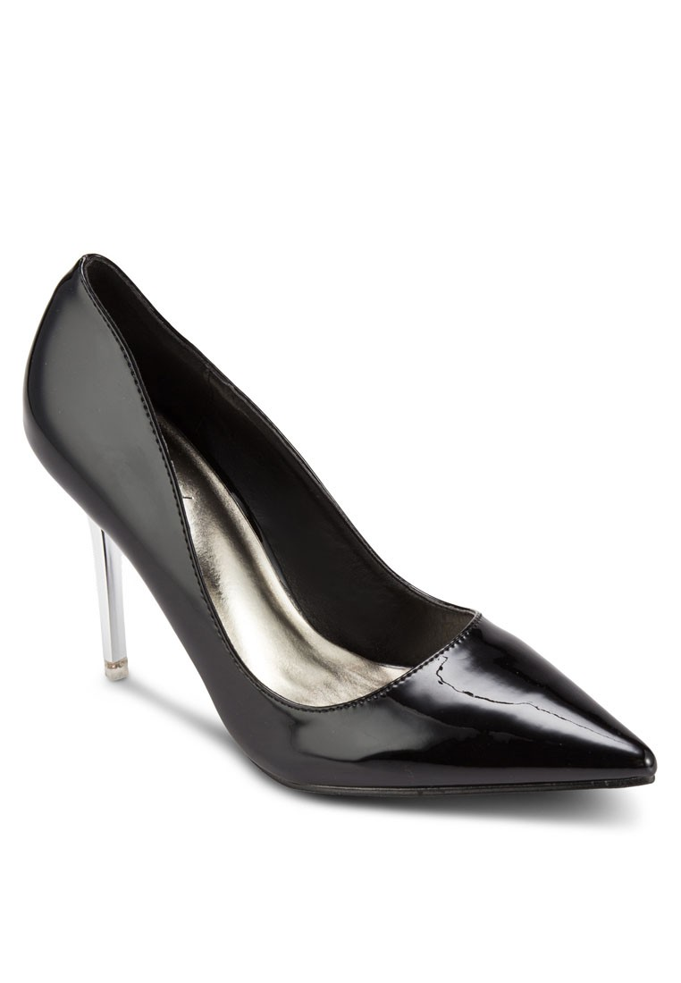 Patent Foil Pointed Toe Pump Heels