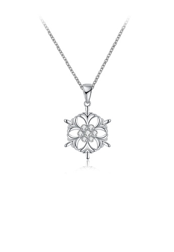 Glamorousky white Fashion Snowflake Pendant with White Austrian Element Crystal and Necklace 3A25CAC50BD787GS_1