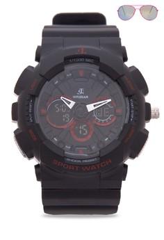 Analog Watch With Free Sunglasses JC-H1113K-MB-04