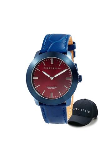 Perry Ellis blue Perry Ellis Slim Line Unisex 42mm Quartz Watch 07012-01 with Perry Ellis Cap 1928DACD215994GS_1